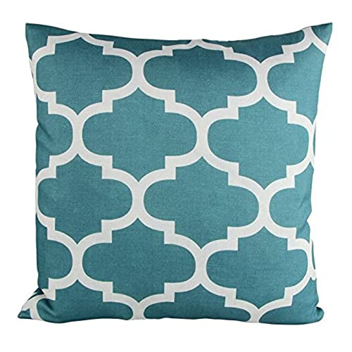 Puredown Canvas Decorative Cushion Covers Sofa Chair Seat Throw Pillow Case  Quatrefoil Print Square 18X18 Inch Teal