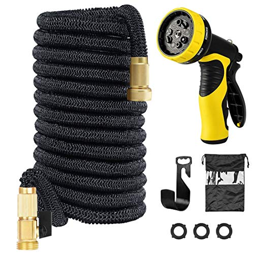 100ft Garden Hose with 9-Pattern Sprayer Nozzle, Expandable Water Hose with Heavy Duty Triple Layered Latex Core, Solid Brass Fittings, Extra Strength Fabric – Flexible Expanding Hose with Storage Bag