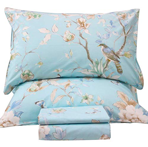 Queen's House Cotton Birds Queen Size Sheets Set Deep Pocket Set-P ()
