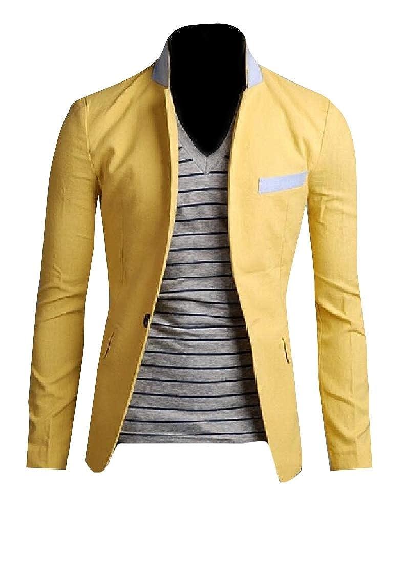 Comaba Mens Plus Size Button Silm Fit Summer Linen Suit Jacket Blazer