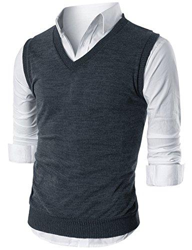 Ohoo Mens Slim Fit Casual V-Neck Knit Vest/DCV010-DARKCHARCOAL-S ()