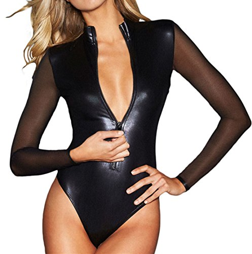 SUBWELL Women's Sexy Sheer Mesh Long Sleeve Zip Front Leather Tops Bodycon Bodysuit,Black,Small ()