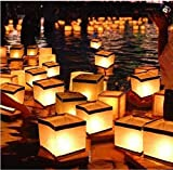 20 Pack Diagtree Square Chinese Lanterns Wishing, Praying, Floating, River Paper Candle Light, floating lanterns for lake or river, floating water lanterns, lanterns floating