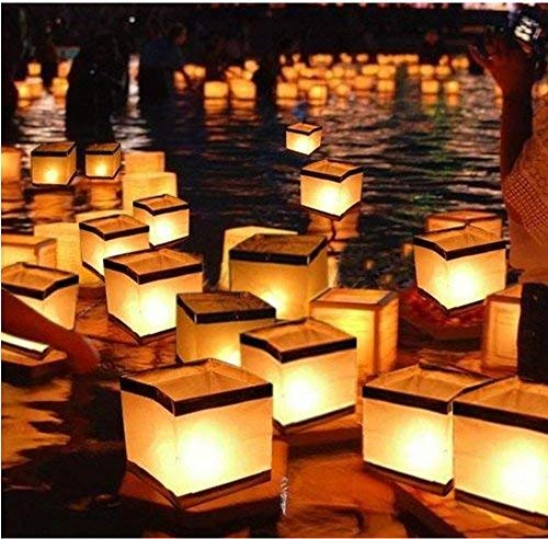 Floating Chinese Lanterns (20 Pack Diagtree Square Chinese Lanterns Wishing, Praying, Floating, River Paper Candle Light, floating lanterns for lake or river, floating water lanterns, lanterns)