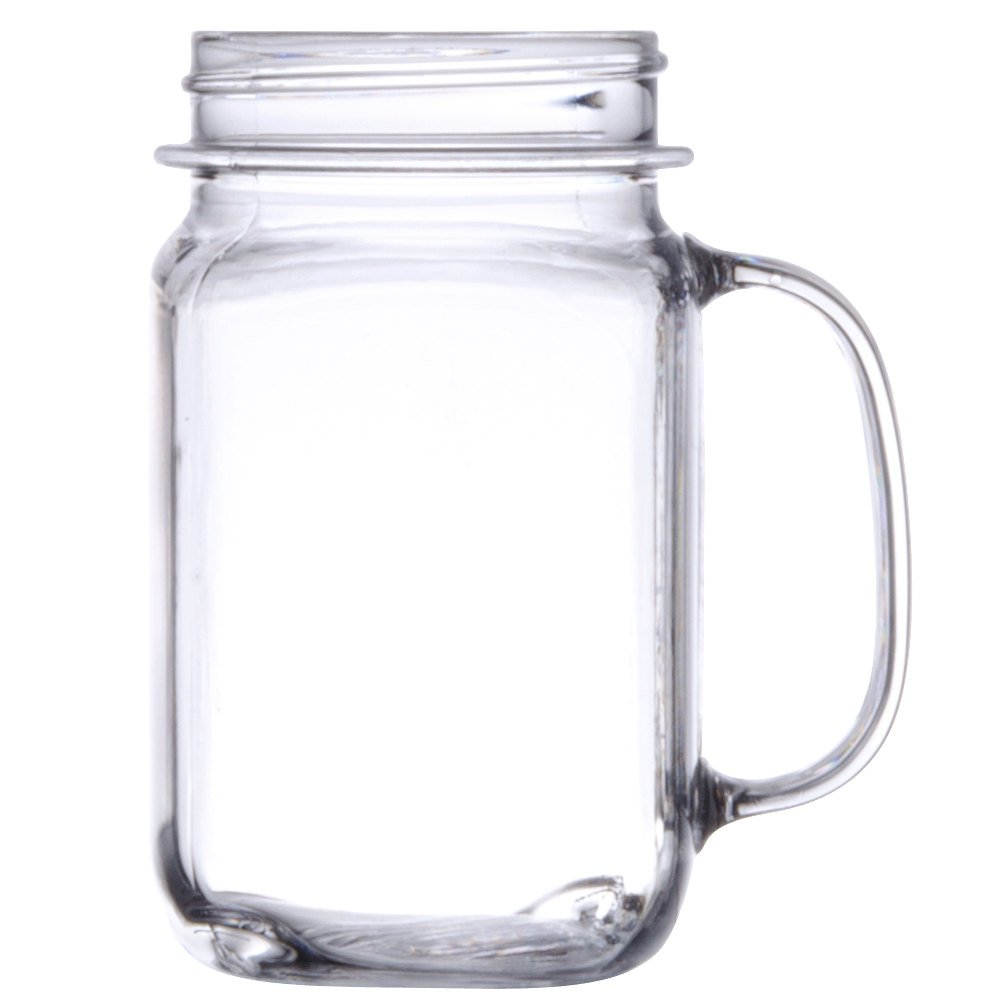 GET MAS-3 CL 16 oz. Clear Polycarbonate Mason Drinking Jar with Handle - 24/Case by GET SW (Image #1)