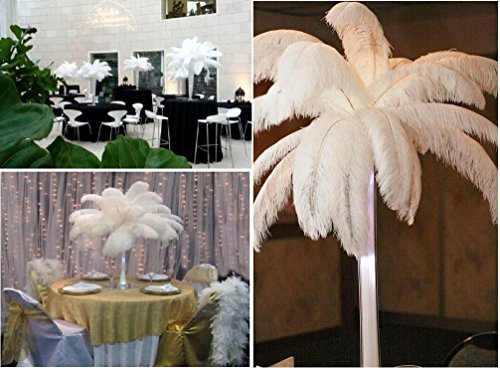 AWAYTR Natural 20-22 inch(50-55cm) Ostrich Feathers Plume for Wedding Centerpieces Home Decoration White 50 Pcs by AWAYTR (Image #5)
