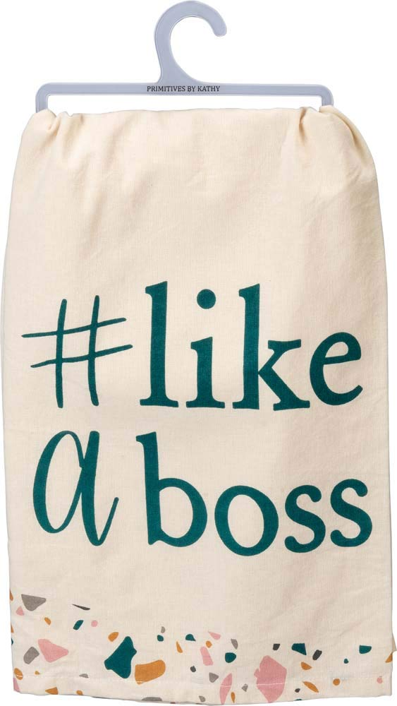 By Kathy PRIMITIVES Like A Boss Dish Towel in Pink Blush