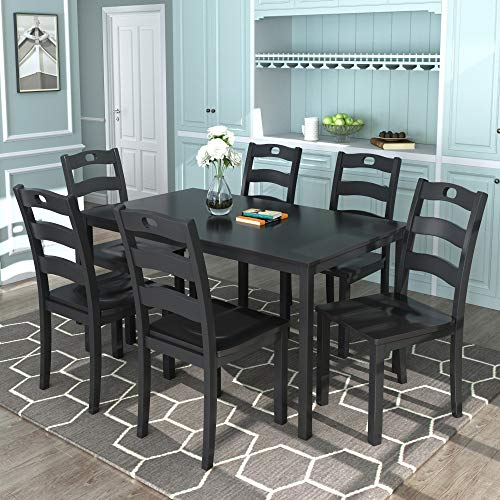 Harper & Bright Designs 7-Pieces Wood Dining Table Set for 6 Person Home Kitchen Table and Chairs (Black, 7 Pieces)