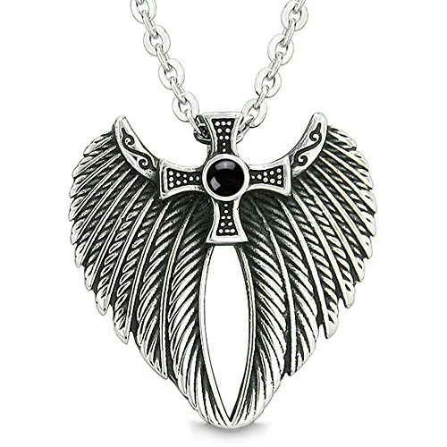 (Angel Wings Celtic Viking Cross Magic Powers Amulet Simulated Black Onyx Pendant 18 inch)