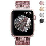CTYBB Apple Watch Band 38mm, Milanese Loop Stainless Steel Magnetic Lock for Apple Watch Series 1, Series 2, Series 3, Edition (38mm, Rose Gold)