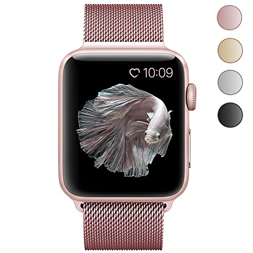 CTYBB for Apple Watch Band 38mm, Milanese Loop Stainless Steel Fully Magnetic Lock for Apple Watch Series 3, Series 2, Series 1, Sport & Edition Rose Gold