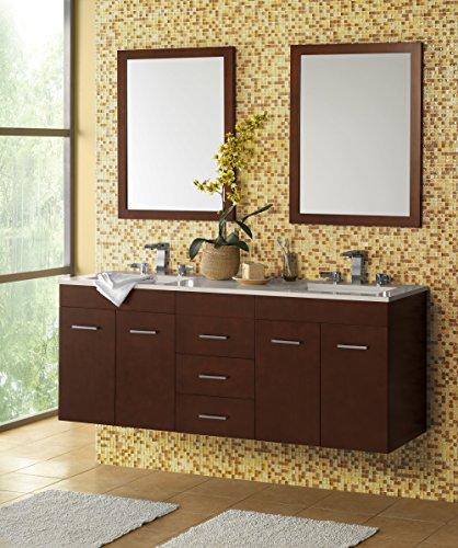 RONBOW Bella 62 inch Double Bathroom Vanity Set in Dark Cherry, Bathroom Vanity Cabinet with Drawers and 2 Mirrors, Bathroom Vanity with Top in White, White Ceramic Vessel Sink - Inch 62 Vanity
