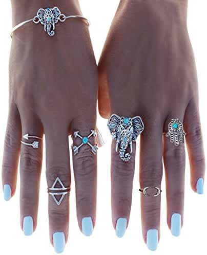 Cougar's Choice 6 Pcs Vintage Arrow Moon Turquoise Joint Knuckle Nail Midi Rings with Bracelet