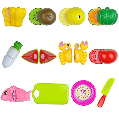 - Pretend Play Kitchen Set, Sushi Fruits and Vegetables, Pizza Food Set, Cutting Food Play Set for Kids, Kitchen Food Toys Playset for Children Girls Boys (Playset 1-Seafood)