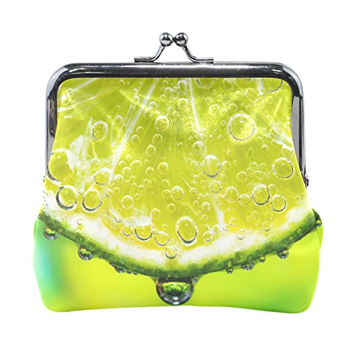 Blue Viper Lime Slice With Soda In Glass Leather Coin Purse Mini Pouch Change Wallet Clutch Handbag