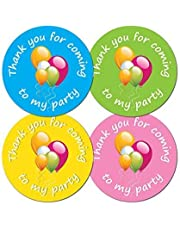 'Thank You For Coming To My Party' - 30mm diameter party stickers - 4 colours (48)