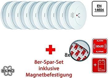 Set Of 8 Optical Smoke Detector Incl Magnetic Holder Vds En 14604 85 Db Rm144c Set Of 8 Amazon Co Uk Diy Tools