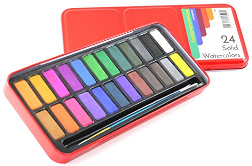 Colorolio Watercolor Paint Set of 24 Solid Cake Colors with Bonus Paintbrush. High Color Density. Perfect for...