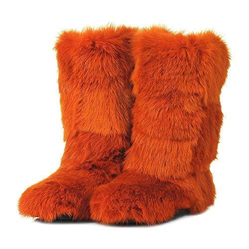 Orange Rabbit Boots for Women, Mukluk Boots, Yeti Boots, Color Rabbit Fur Boots, Long Boots, Winter Boots, Girlfriend Gift, LITVIN (Rabbit Fur Mukluk)
