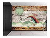 wall26 Faux brick wall pattern with painted mural - Whimsical hot air baloon and paper airplanes design breaking through clouds - Wall Mural, Removable Sticker, Home Decor - 100x144 inches