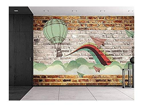 wall26 Faux brick wall pattern with painted mural - Whimsical hot air baloon and paper airplanes design breaking through clouds - Wall Mural, Removable Sticker, Home Decor - 100x144 inches by wall26