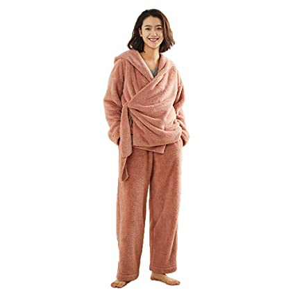 02615818297 BMM- Nightgowns Women s Pajamas Bathrobe Sexy Comfortable Soft Plush Coral  Fleece Warm Thick Long-