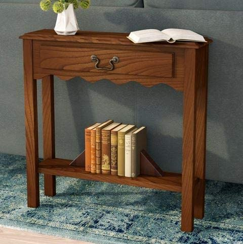 Wood Console Hall Stand Accent Table Narrow Entryway Mission Drawer Shelf Small