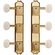 TonePros Kluson 3-on-Plate Tuners w/ Round White Buttons and Press-fit Bushings, Gold