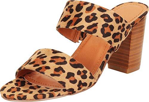 Cambridge Select Women's Classic Two-Strap Slip-On Block Heel Mule Slide Sandal,8.5 B(M) US,Leopard IMSU