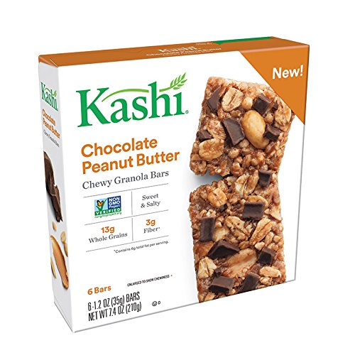 Kashi, Chewy Granola Bars, Chocolate Peanut Butter, Vegan, Non-GMO Project Verified, 7.4 oz (6 Count) (Butter Peanut Kashi)