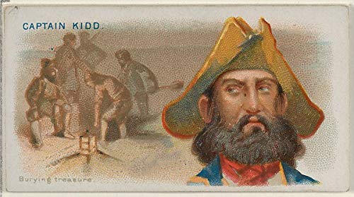 Captain Kidd Burying Treasure from The Pirates of The Spanish Main Series for Allen & Ginter Cigarettes c1888, Vintage Artwork, 16x12(A3) Poster Print
