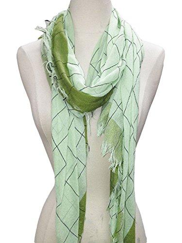 - MONIQUE Women's Elegant Nature Motifs Color Sprinkle Squared Cotton Scarf,2 Green One Size