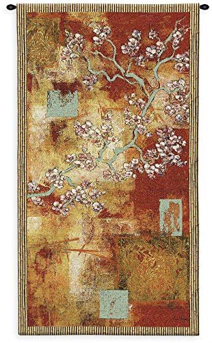 Damask Blossom by Laurel Lehman | Woven Tapestry Wall Art Hanging | Abstract Cherry Blossom Gold Leaf Tree | 100% Cotton USA Size - Tapestry Damask Abstract