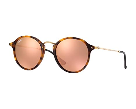 Ray-Ban Round Fleck Medium Spotted Brown Havana Cuivre Miroité ... 008c0fc40c14