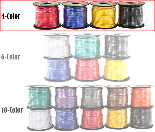 16 GAUGE STRANDED COPPER CLAD ALUMINUM CCA LOW VOLTAGE PRIMARY WIRE FOR AUTOMOTIVE TRAILER HARNESS AUTO REMOTE WIRING 4 COLORED ASSORTMENT 100 FT/ROLL 400 FEET TOTAL (ALSO IN 6 & 10 COLOR)