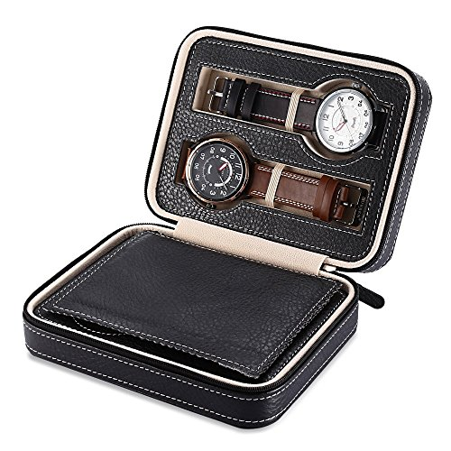 EleLight 4 Grids Watch Storage Display Box, Portable Travel Leather Watch Collector Storage Case for Men & Women as A Gift (Black) by EleLight (Image #7)