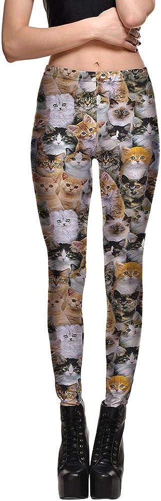 Mengyu Mujer Pantalones Largos Deportivos Patrón de Gatos Leggings para Running Yoga y Ejercicio ComoImagen 4XL: Amazon.es: Ropa y accesorios