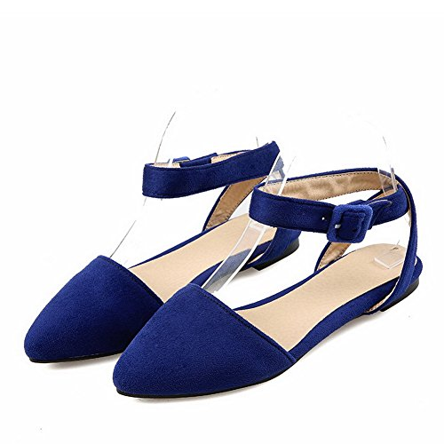 AllhqFashion Mujeres Hebilla Puntera Cerrada Sólido Sandalias de vestir Azul