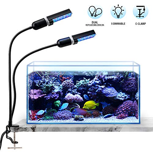 Bozily Aquarium Light Dimmable, Full Spectrum Freshwater Fish Tank Light with Replaceable Bulbs and Adjustable C-Clamp for Aquatic Plant Growth
