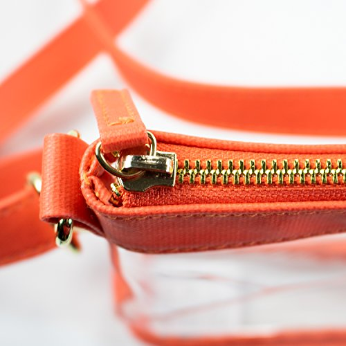 PVC color Orange with Large Clear Designs Women's Crossbody bag accents Capri Xv4U0Hqv