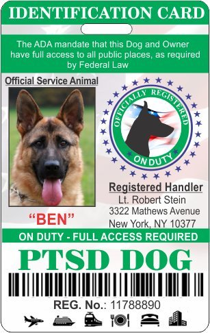 IDCards4U PTSD Service Dog Badge Id by IDCards4U