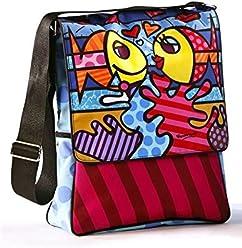 Giftcraft Romero Britto Deeply in Love Fish Couple Microfiber Messenger Bag