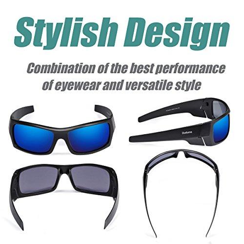 Duduma Tr601 Polarized Sports Sunglasses for Baseball Cycling Fishing Golf Superlight Frame (139 Black matte frame with blue lens)