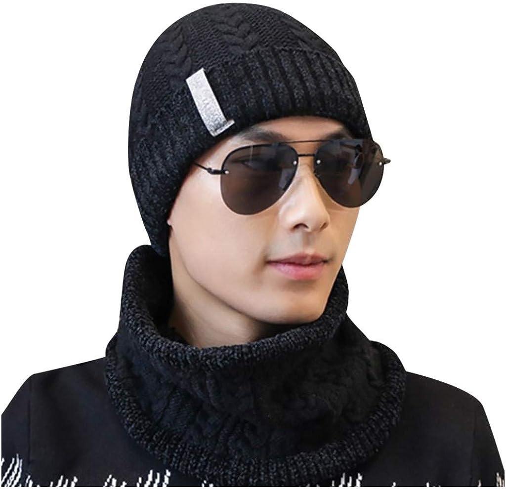 Dumanfs 2PC Men Winter Toque Scarf Set Beanie Hat Scarf Set Warm Knit Hat Thick Knit Skull Cap
