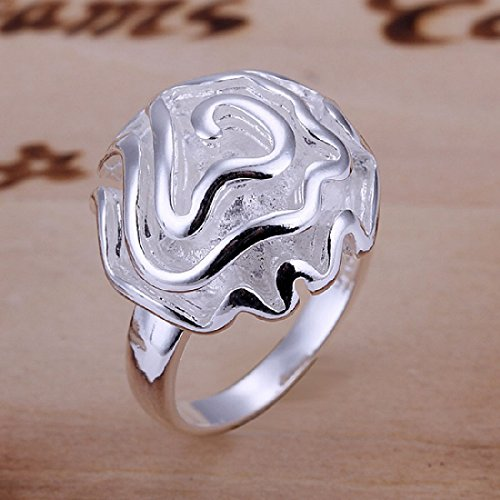 CY-Buity Silversmith 925 Silver Plated 3D Rose Open Ring 10 Size