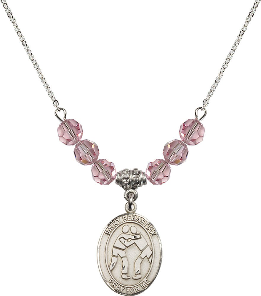 Rhodium Plated Necklace with 6mm Light Rose Birthstone Beads & Saint Sebastian/Wrestling Charm. by F A Dumont