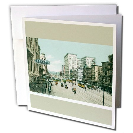 3dRose Canal Street New Orleans, Louisiana Street Scene Greeting Cards, 6'' x 6'', Set of 12 (gc_170070_2)