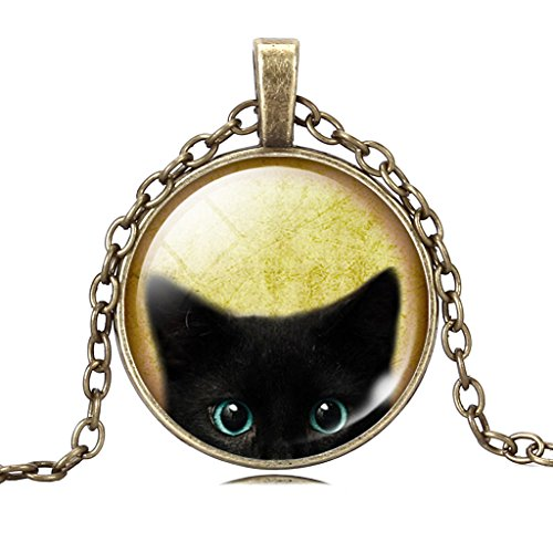 Women's Lifelike Black Cat Gem Necklace Vivid Black Cat Watching Cabochon - Glasses Awful