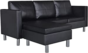Canditree Modern Sectional Sofa L-Shape Couch with Chaise Lounge 3-Seat Artificial Leather for Living Room Black