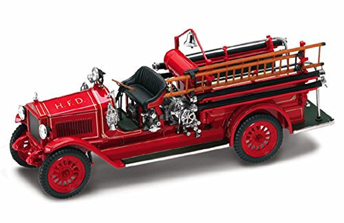 1923 Maxim C1 Fire Engine H.F.D., Red - Yatming 43002 - 1/43 Scale Diecast Model Toy Car (Vintage Fire Engine)